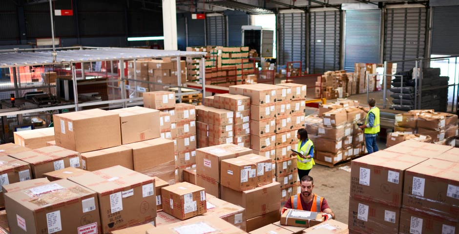 image of boxes in warehouse