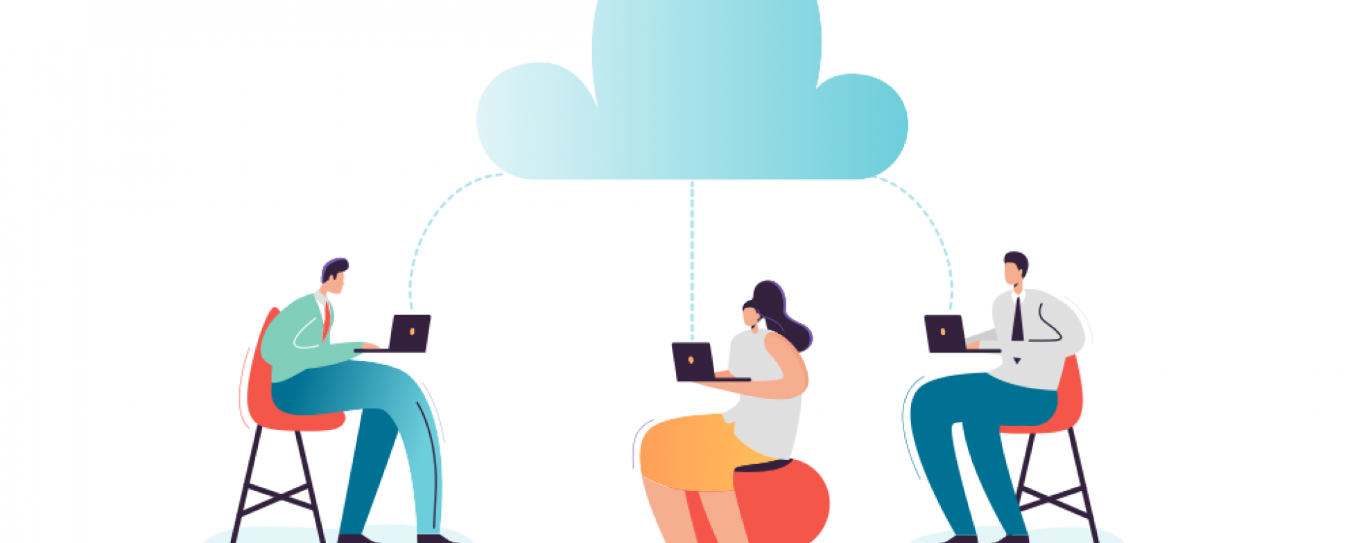 Drawing of three people with computers connected to a cloud